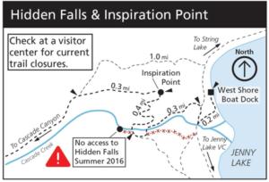 NPS map Hidden Falls trail closure summer 2016