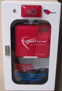 aed case in front of adapted PE gym at De Anza College