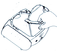 aed drawing of pulling hard plastic cover off