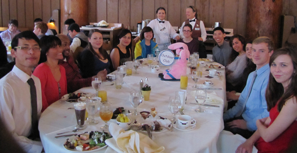 snow camp biggest table at brunch 2015: table for 12 at Ahwahnee brunch