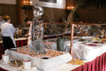 Ahwahnee brunch ice sculpture and prawns: