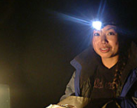 Alice Chen headlamp snow trip 2005 by Colin Underwood: