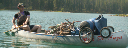 Chris Throm loaded canoe leigh lake 2007: