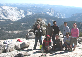 Mt Hoffman summit clockwise Vilma, Anand, Kiran, Eric, Shannon, Troy, Elias, Sheba: On the Mount Hoffman summit, August, 2006, clockwise Vilma Estacio, Anand Padavaia, Kiran Challapalli, Eric Vo, Shannon Mathey, Troy Perez, Elias Shehadeh and Sheba Najmi. Cloud's Rest and Half Dome in the background.