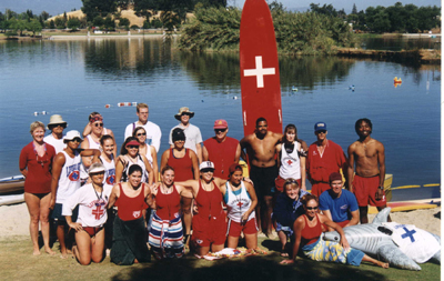 "group photo: Group photo of Danskin 1999 guards. The inflatable shark is ""wearing"" a guard t-shirt."
