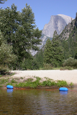 Half Dome and river bouys: