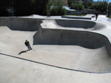 Jackson Wyoming skateboard park: one skateboarder at a park