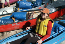 Jessica and gear in kayak: