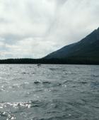 Leigh Lake rain clouds and choppy water: