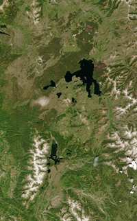 NASA Yellowstone Tetons: NASA Aerial view from space of Yellowstone and Grand Teton National parks