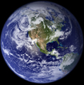 NASA earth western hemisphere 120 pixels: NASA photo of earth western hemisphere from space