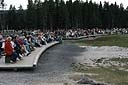 NPS photo crowd waiting for eruption of Old Faithful Geyser: