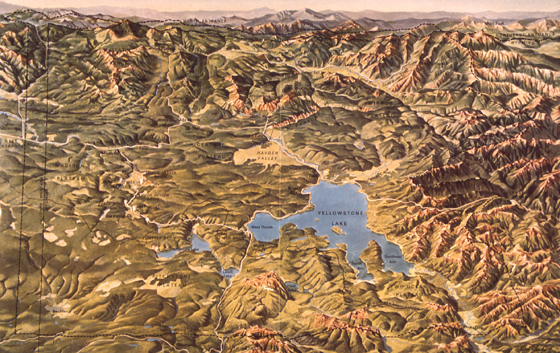 NPS photo raised relief map Yellowstone:
