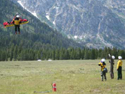 NPS photo of shorthaul helicopter rescue Grand Tetons June 2006: