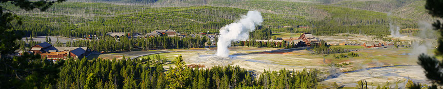 old faithful geyser by Ron Niebrugge: old faithful geyser and surrounding forest and lodges, photo used with permission from the photographer Ron Niebrugge