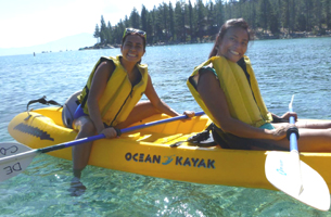 Phung and Dziem kayak lake tahoe unknown photographer: Two women in a kayak on Lake Tahoe