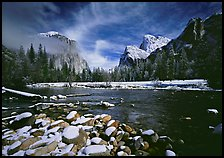 Quang-Tuan Luong valley view some snow: Photo by Quang-Tuan Luong valley view Yosemite with some snow on the rocks in the river