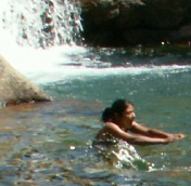 Sheba Najmi takes a breath and plunges in to swim at the worl'd greatest swimming hole: