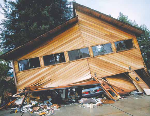 USGS photo collapsed home: