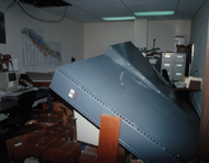 Unfastened bookcases fell during the primary shock of Loma Prieta USGS photo: