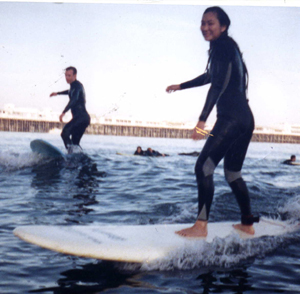 two surfers: Two successful surfers.