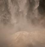 Yosemite Fall hitting snowcone close up: