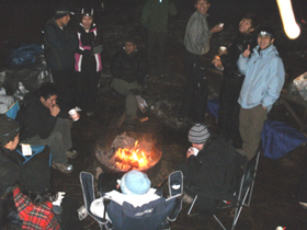 around the evening campfire winter Yosemite 2013: people sitting around the evening campfire winter Yosemite 2013