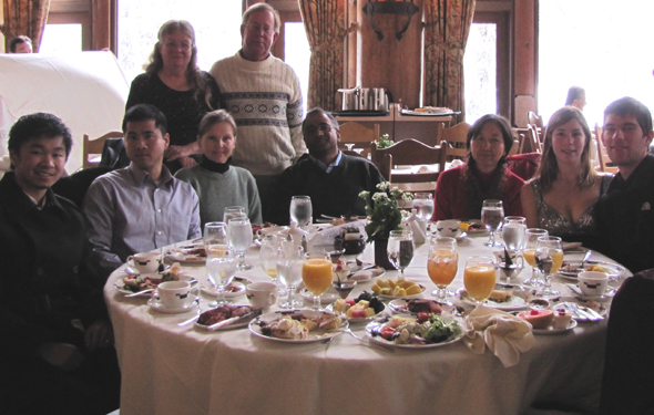 at brunch 2011 winter trip: group around table at brunch in the Ahwahnee hotel dining room