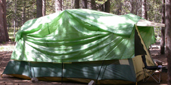 cabin tent with green tarp: