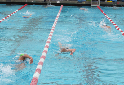 circle swimming: three lanes of swimmers at a pool, people swimming in each in a counterclockwise circle
