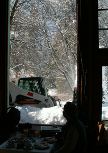 clearing snow outside Ahwahnee dining room: