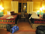 colter bay cabin interior: colter bay cabin interior with two double beds
