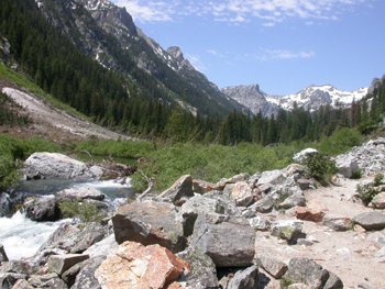 first talus slope Cascade Canyon: