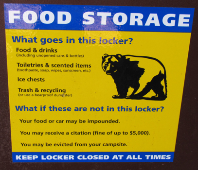 food locker warning sign: warning sign on a food locker in Yosemite