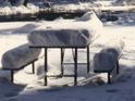 gear left on table snowfall: