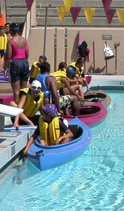 getting in to kayaks at pool:
