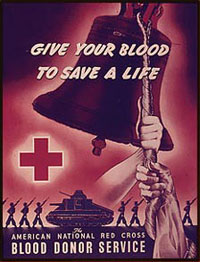 give blood Red Cross poster: Red Cross poster give your blood to save a life