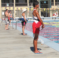 guards on deck at Silicon Valley kids tri 187 pixels: four lifeguards at triathlon