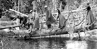 hikers crossing creek by EB Thompson NPS Historic Photograph Collection: hikers in long coats circa 1920s crossing creek on a fallen tree by EB Thompson NPS Historic Photograph Collection