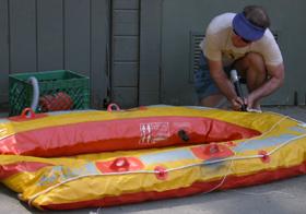 inflating raft: