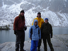Lake Solitude hikers with early fall snow 2006: