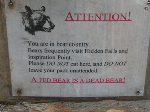 a fed bear is a dead bear sign: