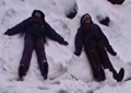 making snow angels: