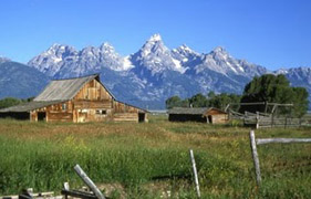 nps photo morman row: Teton peaks in background, barn and outbuildings in middle, grassy field on foreground