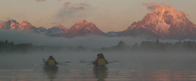 paddling into misty sunrise Tetons: