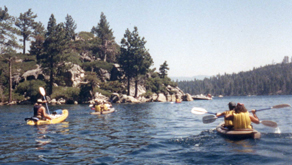 paddling the quarter mile to Fannette Island: