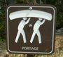 portage sign at end of String Lake: