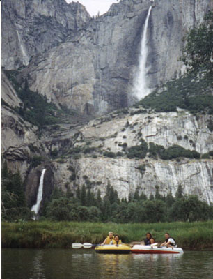 raft yf: raft with Yosemite Falls in the background