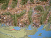 relief map of Taggart Lake to Jackson Lake: