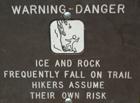 rockfall warning sign Yose falls trail: